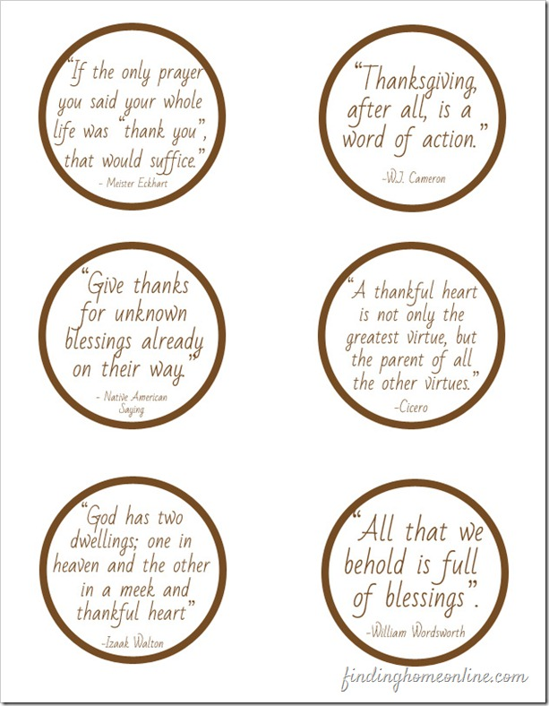 Thanksgiving Quotes Table Setting from Finding Home