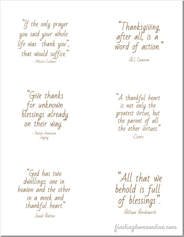 Thanksgiving Quotes Table Setting from Finding Home no circles