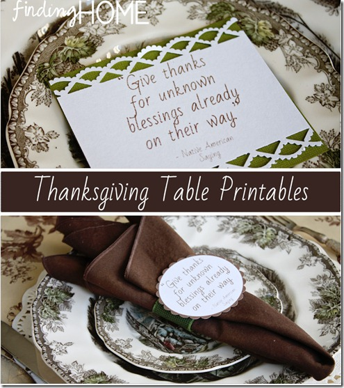 Thanksgiving Table Printables Two Ways