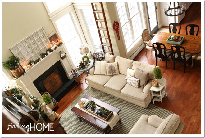 Finding Home Holiday Housewalk Family Room from above