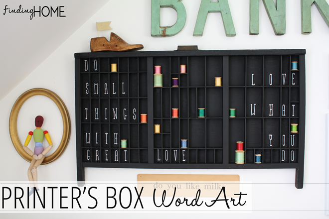 Easy DIY Printer's Box Word Art from Finding Home (findinghomeonline.com)