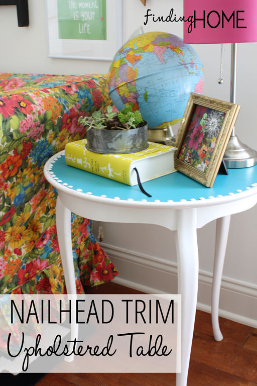 A simple tutorial for creating a Nailhead Trim Upholstered Table