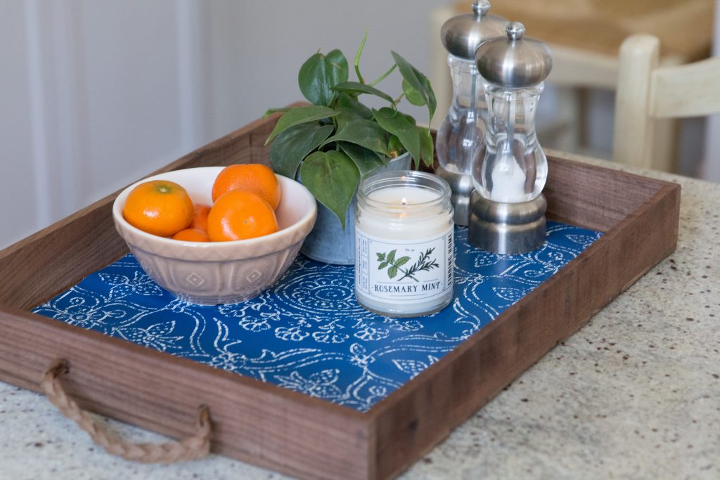 DIY Tray with Peel & Stick Wallpaper